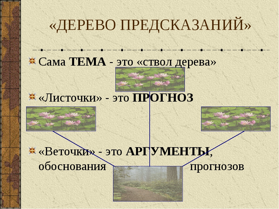 Сама ТЕМА - это «ствол дерева» «Листочки» - это ПРОГНОЗ «Веточки» - это АРГУМ...