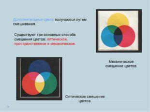 Механическое смешение цветов. Оптическое смешение цветов. Дополнительные цвет