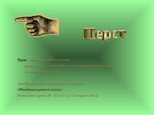 Перст - старинное название пальца, причем сначала так называли именно указате