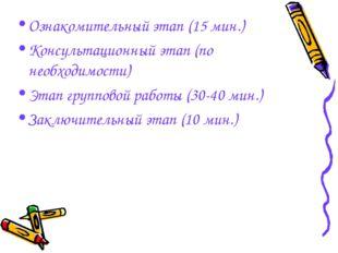 Ознакомительный этап (15 мин.) Консультационный этап (по необходимости) Этап