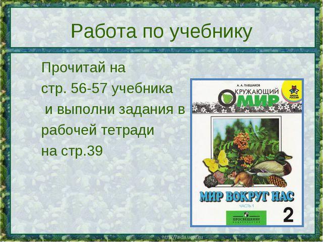 Работа по учебнику Прочитай на стр. 56-57 учебника  и выполни задания в р...