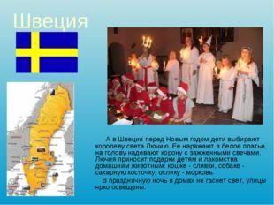 Швеция А в Швеции перед Новым годом дети выбирают королеву света Лючию. Ее на