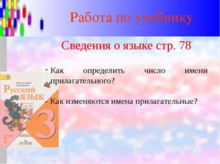 Работа по учебнику Сведения о языке стр. 78 Как определить число имени прилаг
