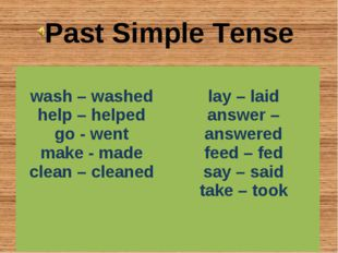 Past Simple Tense wash – washed help – helped go - went make - made clean – c