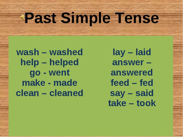 Past Simple Tense wash – washed help – helped go - went make - made clean – c...