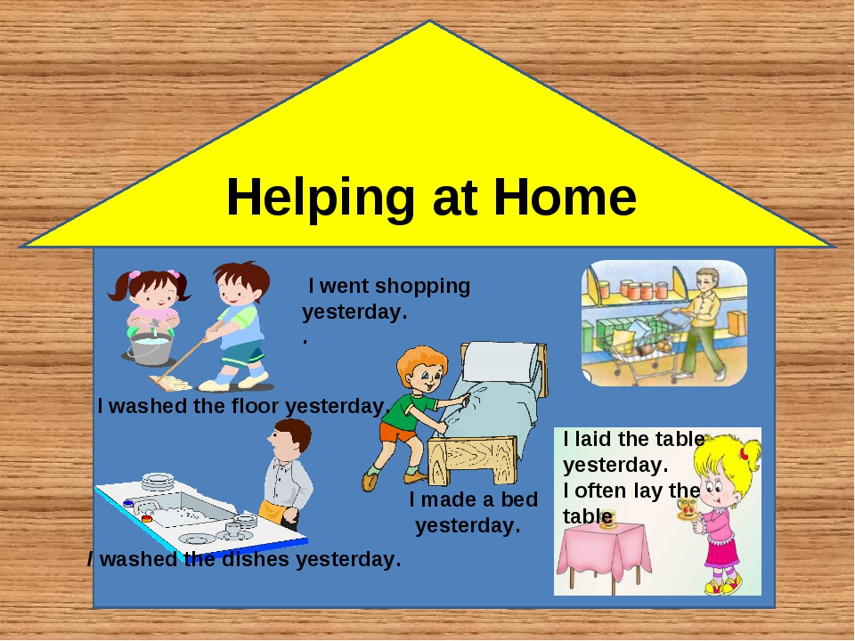 Helping at Home I laid the table yesterday. I often lay the table I washed th...