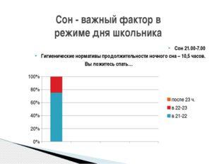 Cон - важный фактор в режиме дня школьника Сон 21.00-7.00 Гигиенические норма