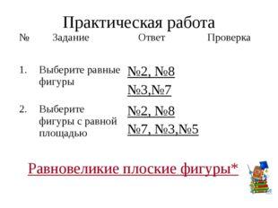 Практическая работа Равновеликие плоские фигуры* № Задание Ответ Проверка 1.