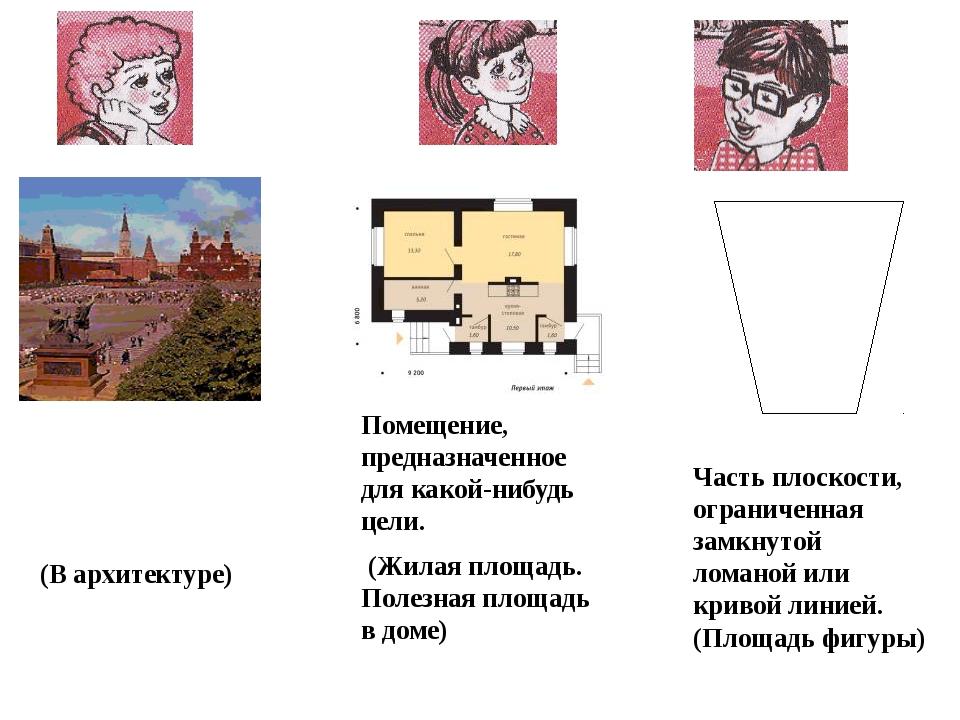 (В архитектуре) Помещение, предназначенное для какой-нибудь цели. (Жилая пло...