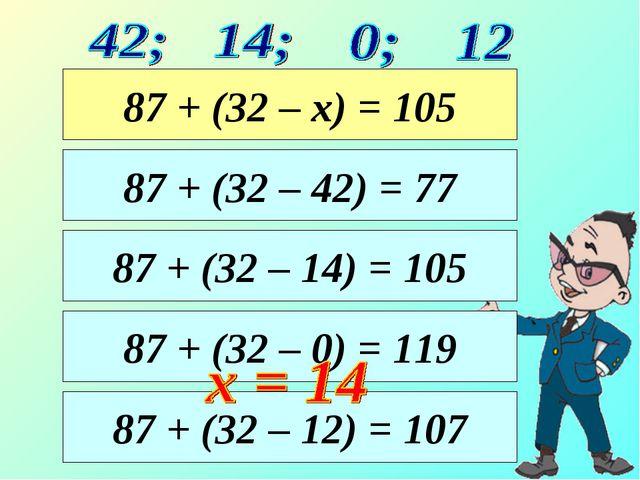 87 + (32 – 14) = 105 87 + (32 – 42) = 77 87 + (32 – х) = 105 87 + (32 – 0) =...