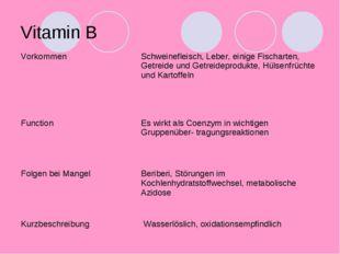 Vitamin B VorkommenSchweinefleisch, Leber, einige Fischarten, Getreide und G