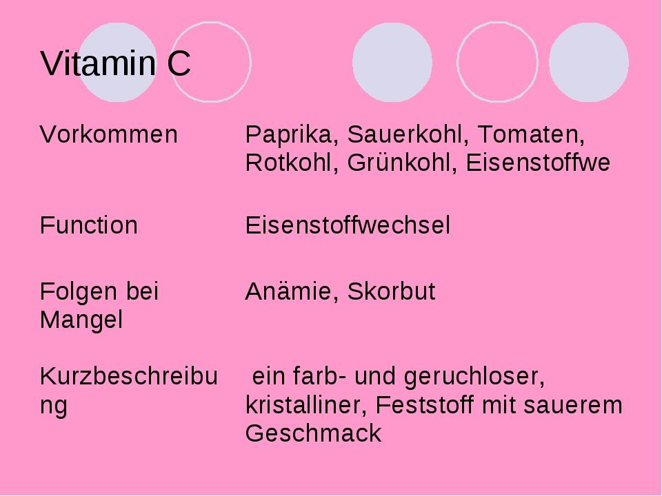 Vitamin C VorkommenPaprika, Sauerkohl, Tomaten, Rotkohl, Grünkohl, Eisenstof...
