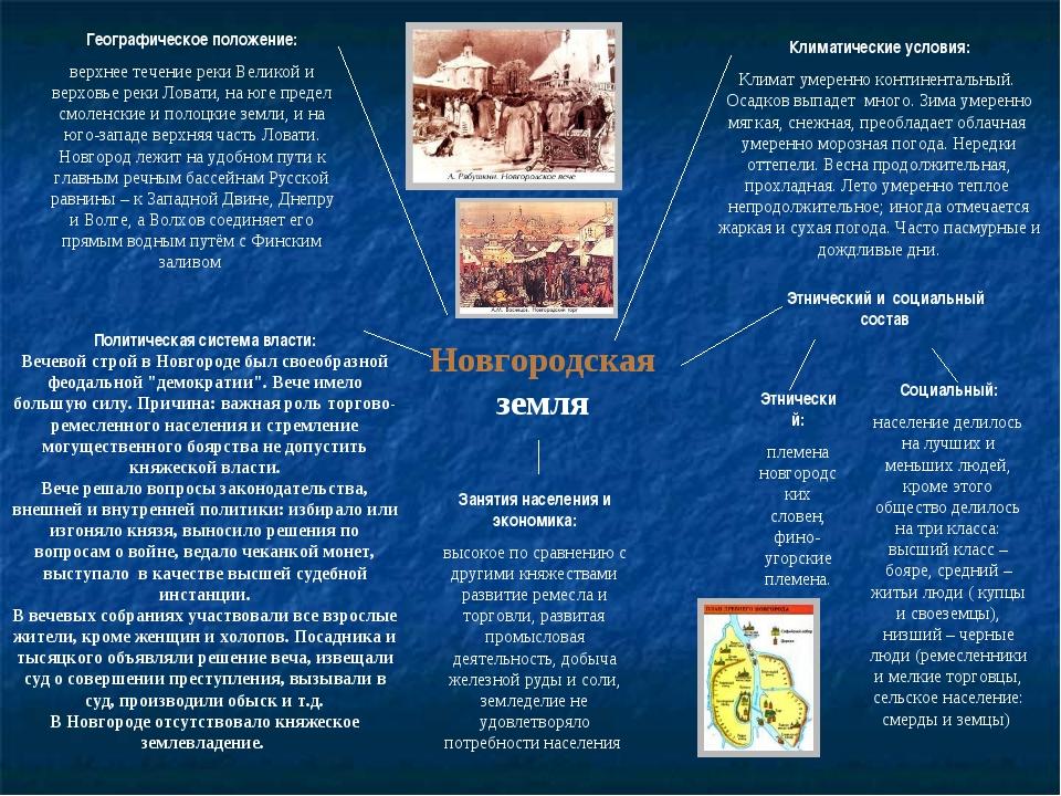 Новгородская земля Географическое положение: верхнее течение реки Великой и в...