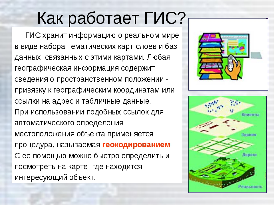 Как работает ГИС? ГИС хранит информацию о реальном мире в виде набора тематич...