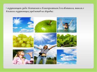 • окружающая среда: безопасная и благоприятная для обитания, знания о влиянии