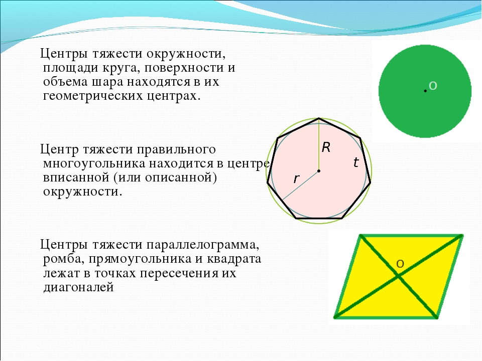 Центры тяжести окружности, площади круга, поверхности и объема шара находятс...