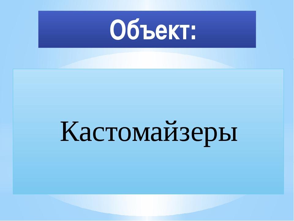 Объект: Кастомайзеры