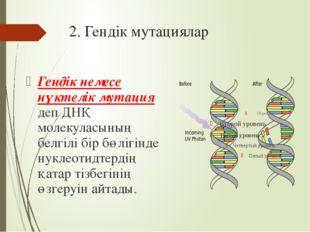 2. Гендік мутациялар Гендік немесе нүктелік мутация деп ДНҚ молекуласының бел