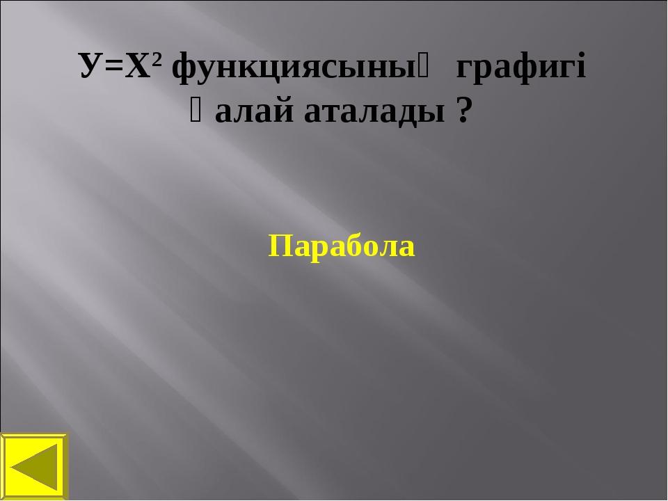 У=Х2 функциясының графигі қалай аталады ? Парабола