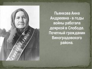 Пьянкова Анна Андреевна - в годы войны работала дояркой в Слободе. Почетный г