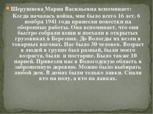 Шерушнева Мария Васильевна вспоминает: Когда началась война, мне было всего 1