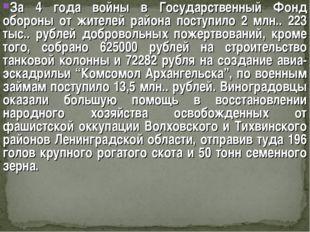 За 4 года войны в Государственный Фонд обороны от жителей района поступило 2