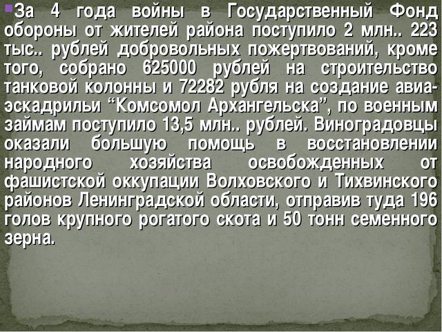 За 4 года войны в Государственный Фонд обороны от жителей района поступило 2...