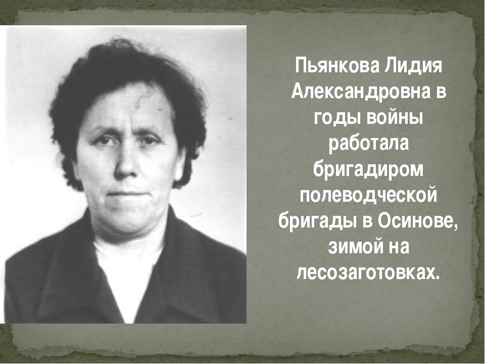 Пьянкова Лидия Александровна в годы войны работала бригадиром полеводческой б...