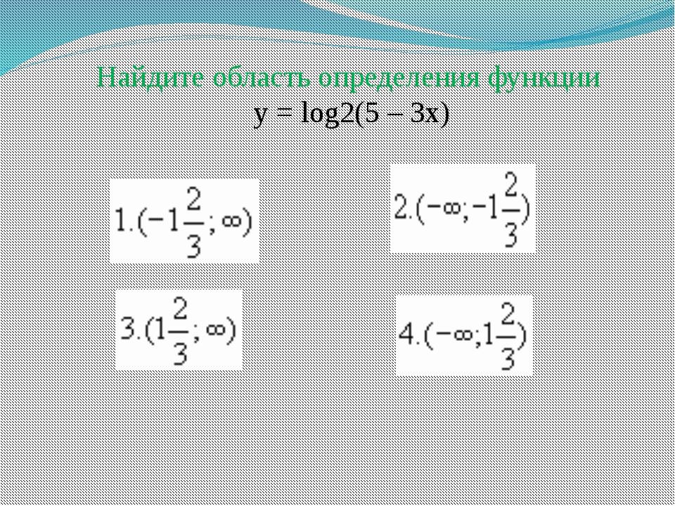 Найдите область определения функции у = log2(5 – 3x)