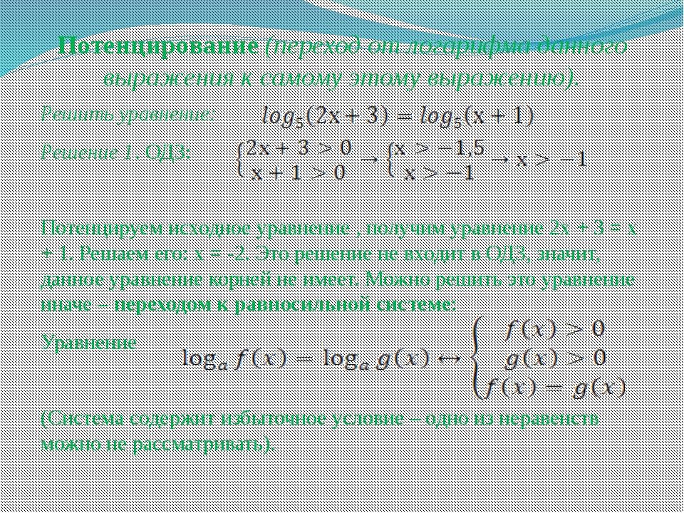 Потенцирование (переход от логарифма данного выражения к самому этому выражен...