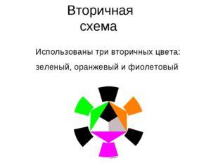 Вторичная схема Использованы три вторичных цвета: зеленый, оранжевый и фиолет