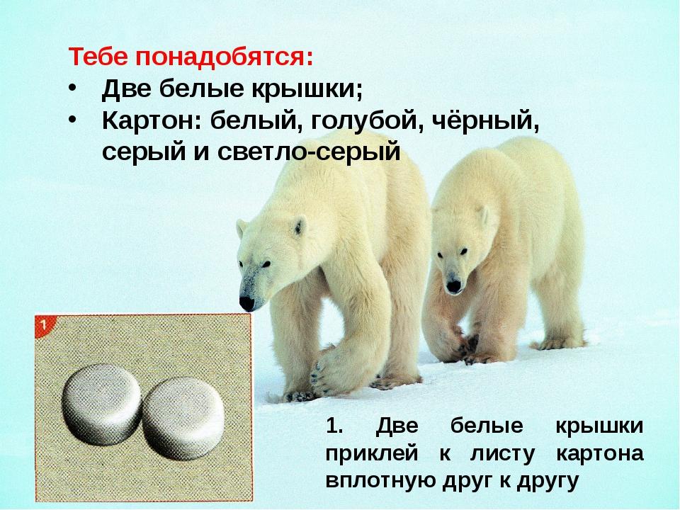 Тебе понадобятся: Две белые крышки; Картон: белый, голубой, чёрный, серый и с...