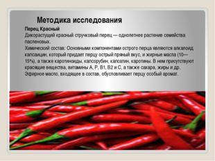 Методика исследования Перец Красный Дикорастущий красный стручковый перец —