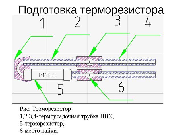 Рис. Терморезистор 1,2,3,4-термоусадочная трубка ПВХ, 5-терморезистор, 6-мест...