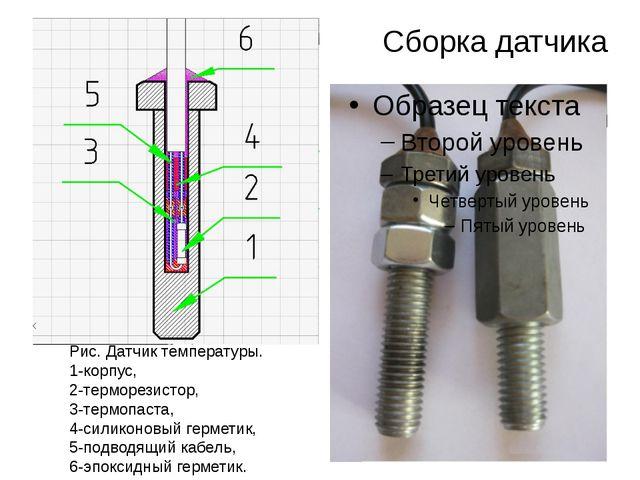 Сборка датчика Рис. Датчик температуры. 1-корпус, 2-терморезистор, 3-термопас...