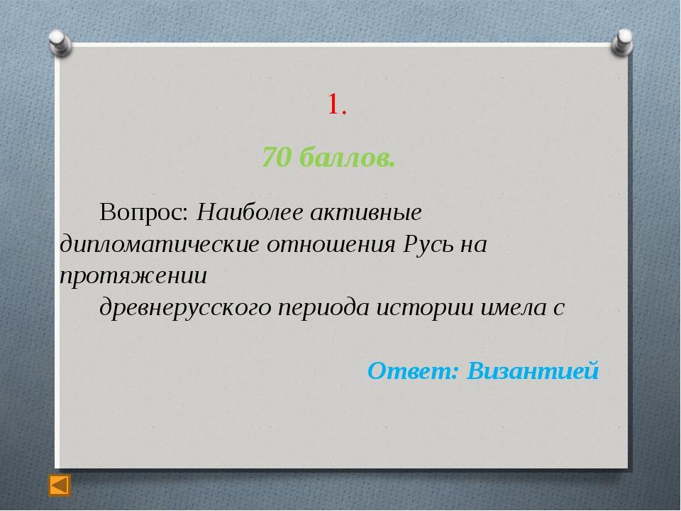 1. 70 баллов. Вопрос: Наиболее активные дипломатические отношения Русь на пр...
