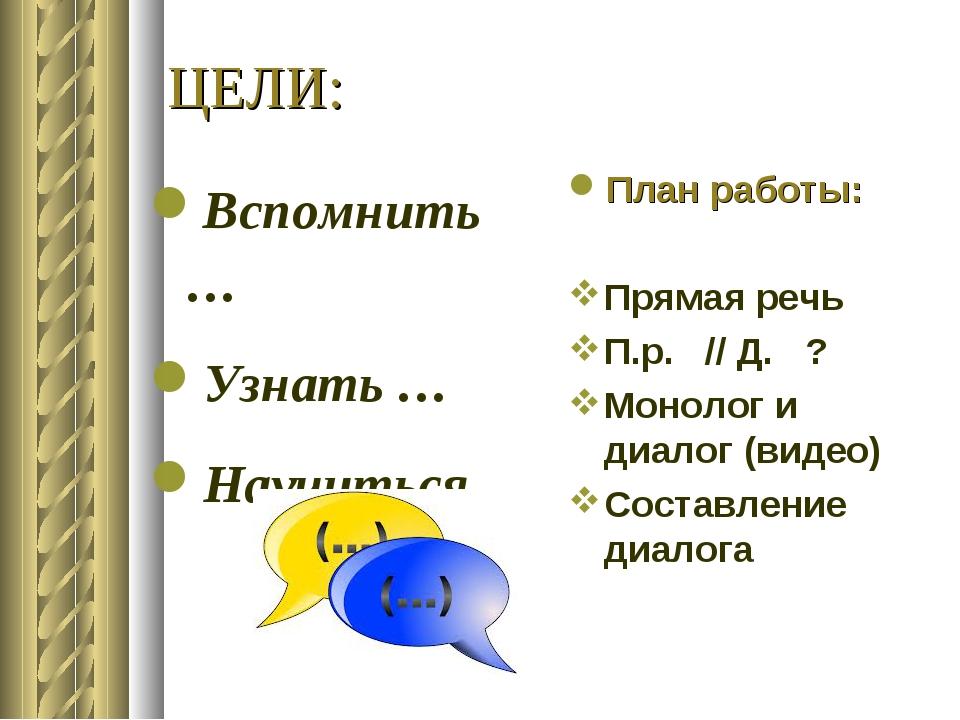 ЦЕЛИ: Вспомнить… Узнать … Научиться… План работы: Прямая речь П.р. // Д. ? Мо...
