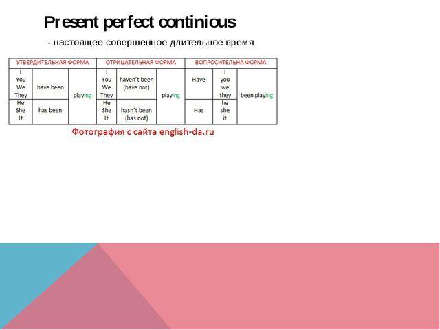 Present perfect continious - настоящее совершенное длительное время