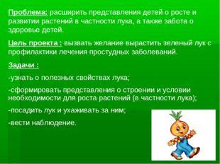 Проблема: расширить представления детей о росте и развитии растений в частнос