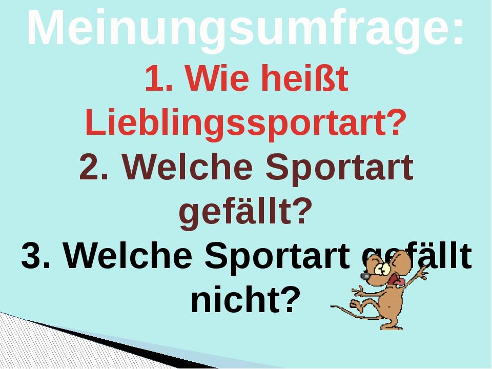 Die Meinungsumfrage: 1. Wie heißt Lieblingssportart? 2. Welche Sportart gefäl...