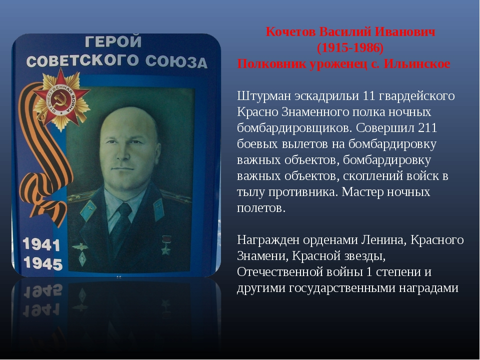 Кочетов Василий Иванович (1915-1986) Полковник уроженец с. Ильинское Штурман...