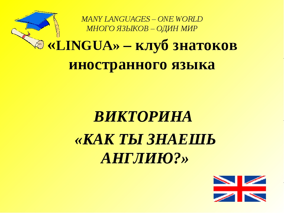 MANY LANGUAGES – ONE WORLD МНОГО ЯЗЫКОВ – ОДИН МИР «LINGUA» – клуб знатоков и...