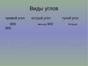 Виды углов прямой угол острый угол тупой угол 900 меньше 900 больше 900