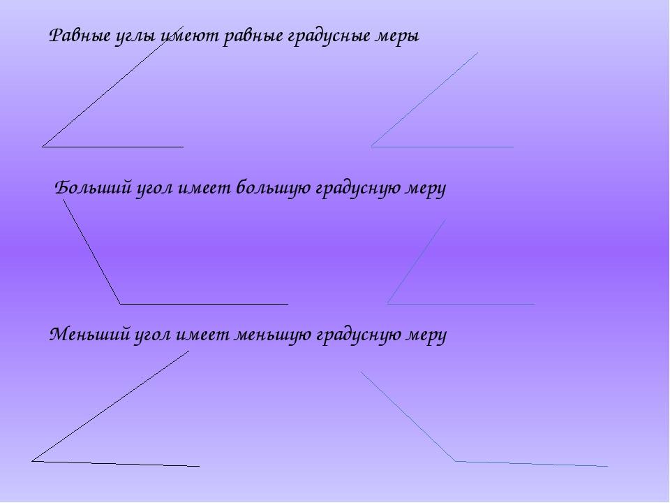 Равные углы имеют равные градусные меры Больший угол имеет большую градусную...