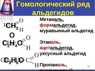 Гомологический ряд альдегидов * Метаналь, формальдегид, муравьиный альдегид Э