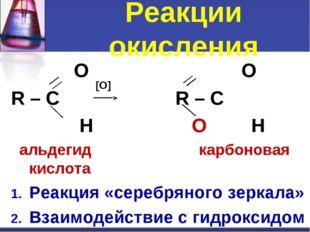 O O R – C R – C H Н альдегид карбоновая кислота Реакция «серебряного зеркала