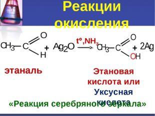 Реакции окисления + t,NH3 + этаналь Этановая кислота или Уксусная кислота «Р