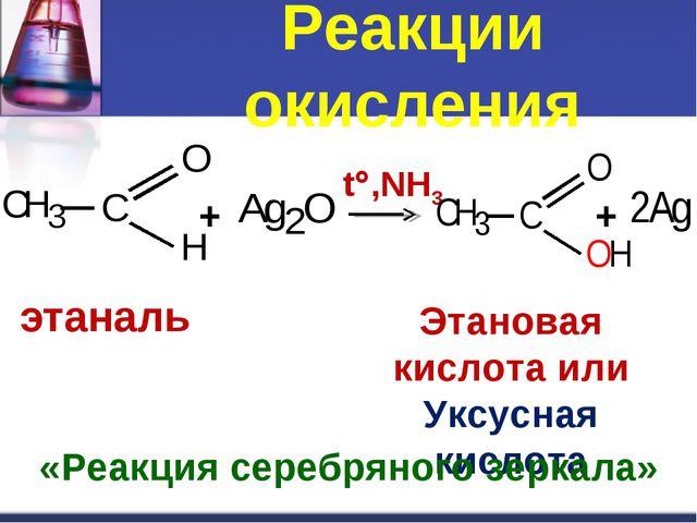 Реакции окисления + t,NH3 + этаналь Этановая кислота или Уксусная кислота «Р...