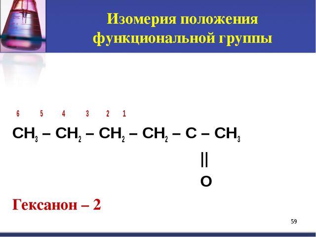 * 6 5 4 3 2 1 CH3 – CH2 – CH2 – CH2 – C – CH3 || O Гексанон – 2 Изомерия поло...