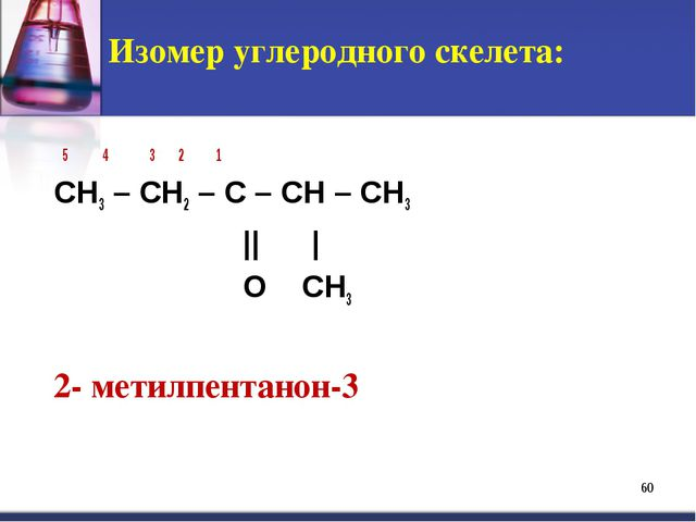 * Изомер углеродного скелета: 5 4 3 2 1 СH3 – CH2 – C – CH – CH3 || | O CH3 2...